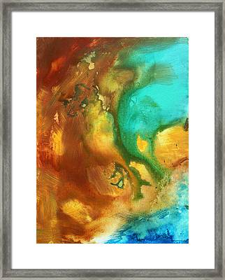 Abstract Art Colorful Turquoise Rust River Of Rust I By Madart  Framed Print by Megan Duncanson