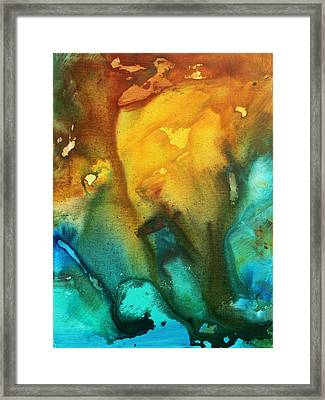 Abstract Art Colorful Turquoise Rust River Of Rust IIi By Madart Framed Print by Megan Duncanson