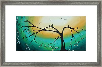 Abstract Art Landscape Bird Painting Family Perch By Madart Framed Print by Megan Duncanson