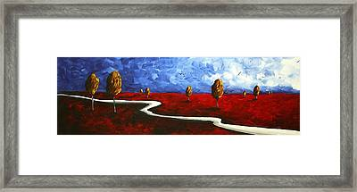 Abstract Art Original Landscape Painting Winding Road By Madart Framed Print by Megan Duncanson