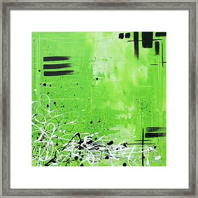 Abstract Art Original Painting Green Dreams By Madart Framed Print by Megan Duncanson