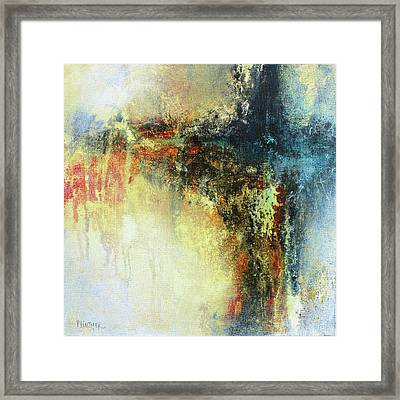 Teals And Warm Tones Abstract Painting Framed Print