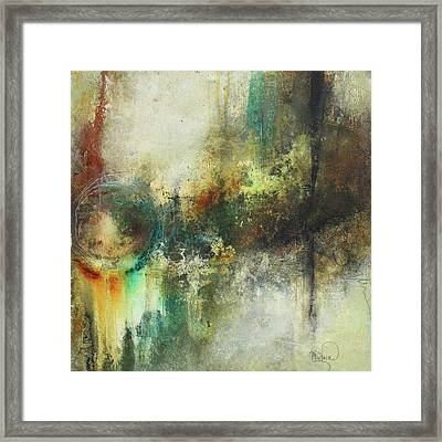 Abstract Art With Blue Green And Warm Tones Framed Print