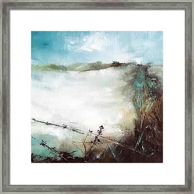 Abstract Barbwire Pasture Landscape Framed Print