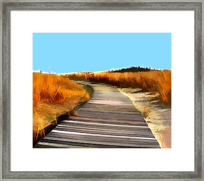 Abstract Beach Dune Boardwalk Framed Print by Elaine Plesser