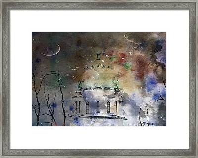 Abstract Birds In A Swirl Of Sky Colors Framed Print