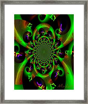 Framed Print featuring the photograph Abstract Black And Green by Miriam Shaw