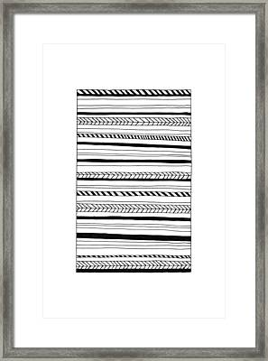 Abstract Black Lines Pattern Framed Print