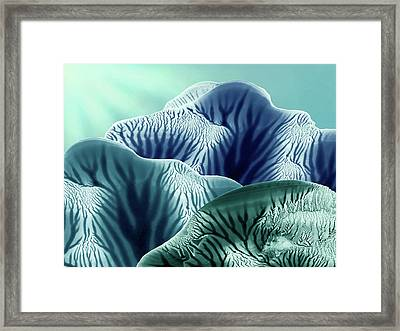 Abstract Blue And Green Mountain Landscape Seascape Framed Print by Amy Vangsgard