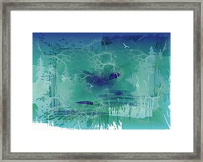 Framed Print featuring the digital art Abstract Blue Green by Robert G Kernodle