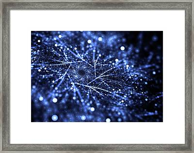 Abstract Blue Particle Dust With Bokeh Effect Framed Print