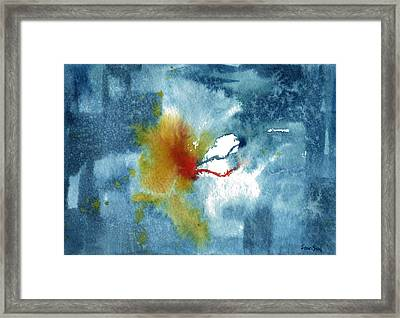 Abstract Blue Red Connect Framed Print by Sean Seal