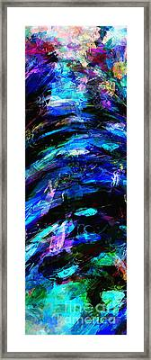 Framed Print featuring the painting Abstract Blue Symphony Tall No1 by Ginette Callaway