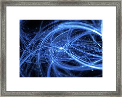 Abstract Blue Wavy Lines Background Framed Print