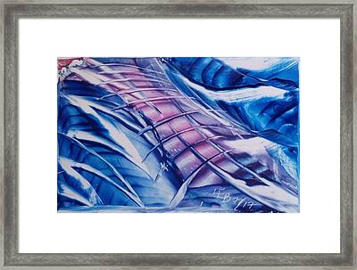Abstract Blue With Pink Centre Framed Print