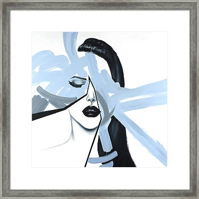 Abstract Blue Woman Portrait Framed Print by Atelier B Art Studio