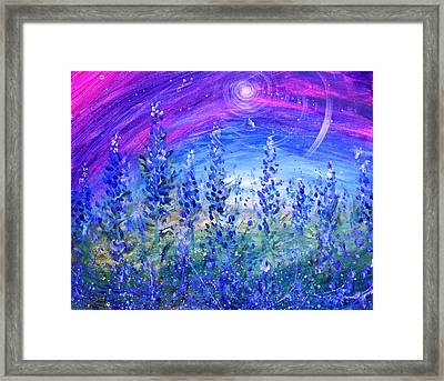 Abstract Bluebonnets Framed Print