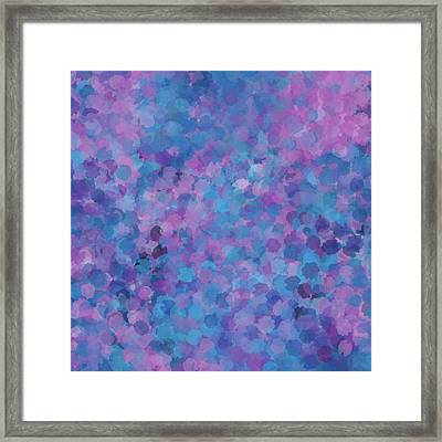 Framed Print featuring the mixed media Abstract Blues Pinks Purples 3 by Clare Bambers