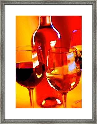 Abstract Bottle Of Wine And Glasses Of Red And White Framed Print by Elaine Plesser