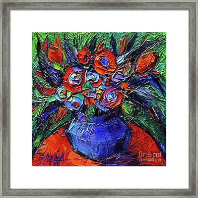 Abstract Bouquet On Vermilion Table - Impasto Palette Knife Oil Painting - Mona Edulesco Framed Print