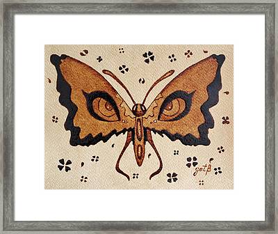 Abstract Butterfly Coffee Painting Framed Print by Georgeta  Blanaru