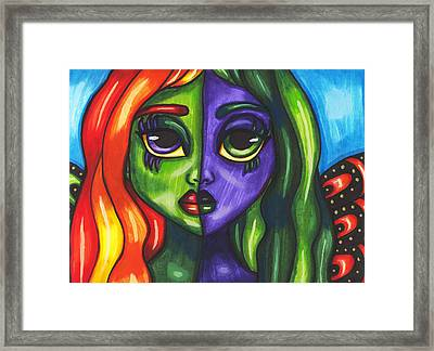 Abstract Butterfly Fairy Girl Framed Print