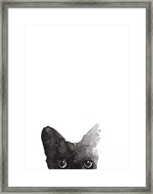 Abstract Cat Art Print Watercolor Painting Framed Print by Joanna Szmerdt