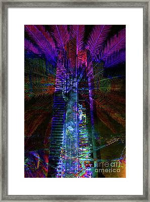 Abstract City In Purple Framed Print by Barbara Dudzinska