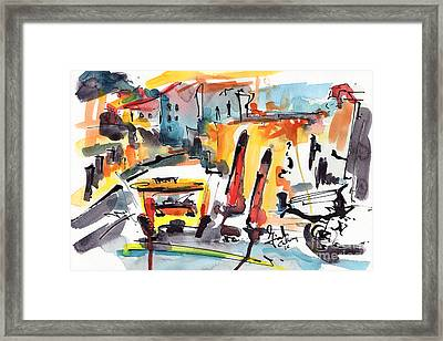 Abstract City Streets 1 Modern Art Framed Print by Ginette Callaway