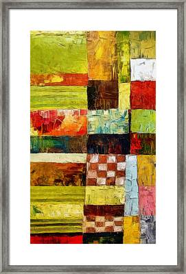 Abstract Color Study With Checkerboard And Stripes Framed Print by Michelle Calkins