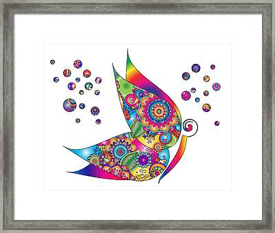 Abstract Colorful Butterfly Framed Print by Serena King