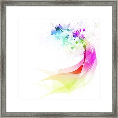 Abstract Colorful Curved Framed Print