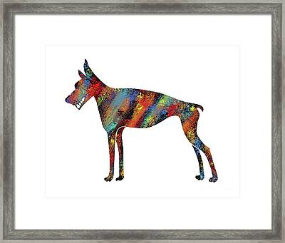 Abstract Colorful Doberman Pinscher Dog Framed Print by Apostrophe Art