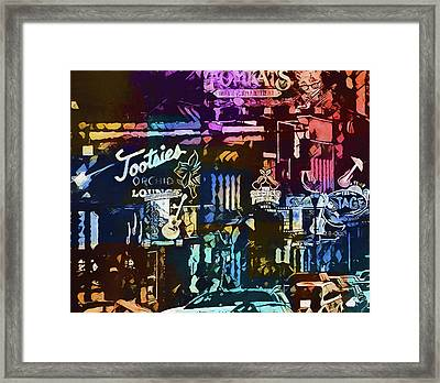 Abstract Colorful Downtown Nashville Framed Print