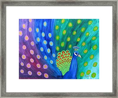 Abstract Colorful Peacock Framed Print