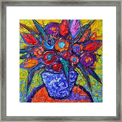 Abstract Colorful Tulips Modern Impressionist Impasto Palette Knife Oil Painting  Ana Maria Edulesu Framed Print by Ana Maria Edulescu