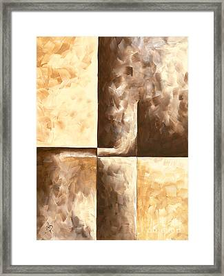 Abstract Contemporary Art Original Minimalist Painting In Brown And Yellow Burnished IIi By Madart Framed Print