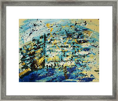 Abstract Contemporary Western Wall Kotel Prayer Painting With Splatters In Blue Gold Black Yellow Framed Print