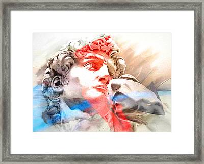 Framed Print featuring the painting Abstract David Michelangelo 2 by J- J- Espinoza