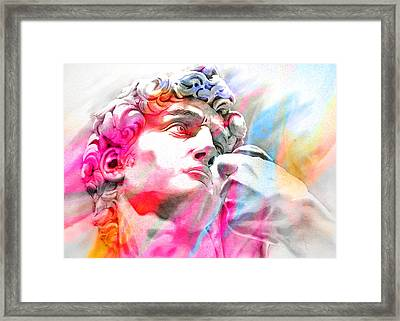 Framed Print featuring the painting Abstract David Michelangelo 4 by J- J- Espinoza