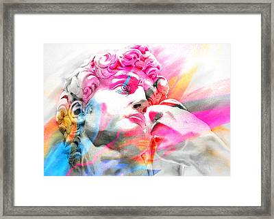 Framed Print featuring the painting Abstract David Michelangelo 5 by J- J- Espinoza