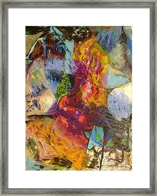 Framed Print featuring the painting Abstract Depths by Nicolas Bouteneff