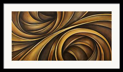 Earth Tones Brown Ribbon Abstract Flowing Motion Framed Prints