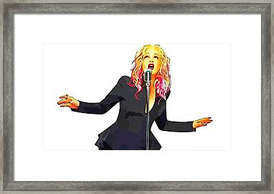Abstract Digital Painting Of Cyndi Lauper Framed Print by John Malone