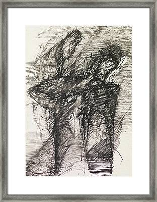 Abstract Drawing Black Ink Framed Print