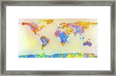 Abstract Earth Map 2 Framed Print by Bob Orsillo