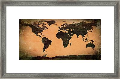 Abstract Earth Map Mural Framed Print by Bob Orsillo