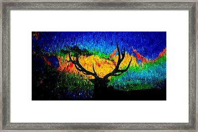 Abstract Elk Scenic View Framed Print