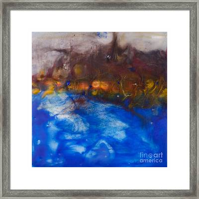 Abstract Encaustic Painting Ocean Framed Print by Edward Fielding