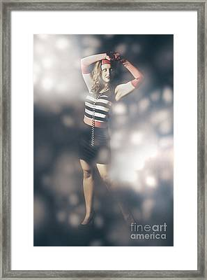Abstract Fashion Girl Amongst Glittering Lights Framed Print by Jorgo Photography - Wall Art Gallery